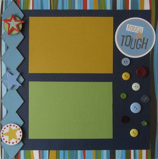 Rough & Tough 12x12 Premade Scrapbook Page by c2cCreations on Etsy, $5.50