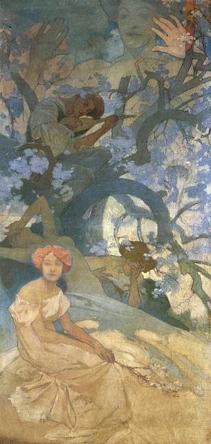 Alphonse Mucha -- Comedy: study for a mural for the German Theatre, New York (1908)