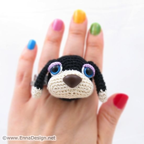 """Crochet Amigurumi Dog Art Ring"" #Amigurumi  #crochet"