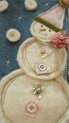 Playful fabric treatment in assembling snowman.