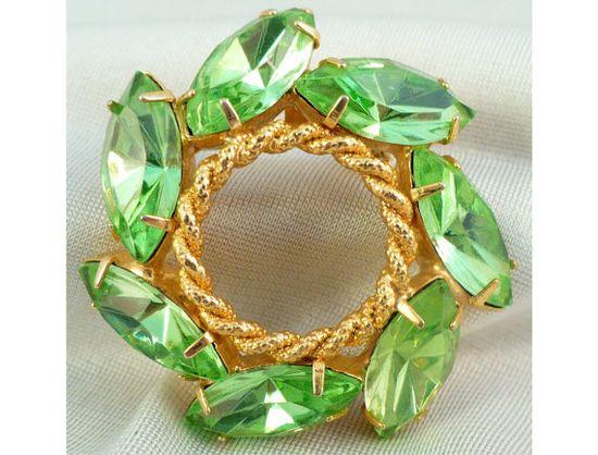 Smart Green Marquise Rhinestone Vintage Brooch by MarlosMarvelousFinds, $14.00