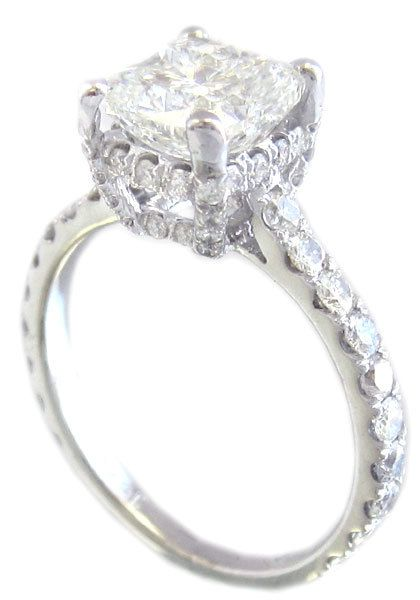 18k white gold cushion cut diamond engagement ring art by KNRINC, $8615.00