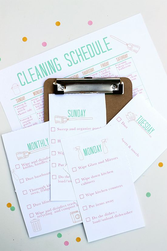 Printable Cleaning Schedule.