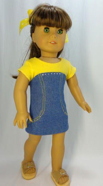 Fits American Girl or 18 inch Doll Blue Denim by MissyCrissy2, $22.00