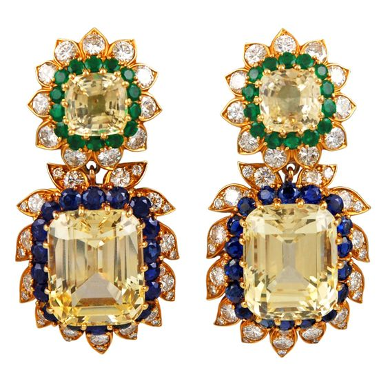 VAN CLEEF & ARPELS Sapphire, Emerald, Diamond Earrings