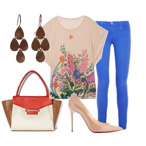 Spring outfit, floral, cobalt jeans