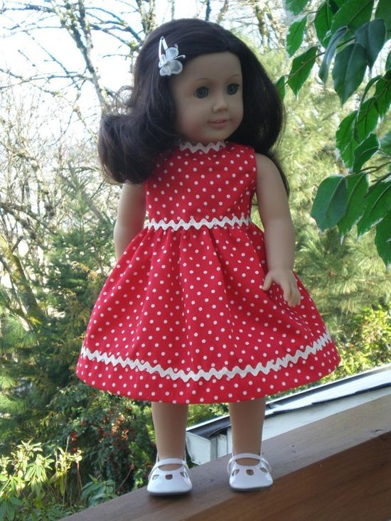 AMERICAN GIRL DOLL Dress Red with White polkadots by DollFashions, $10.00