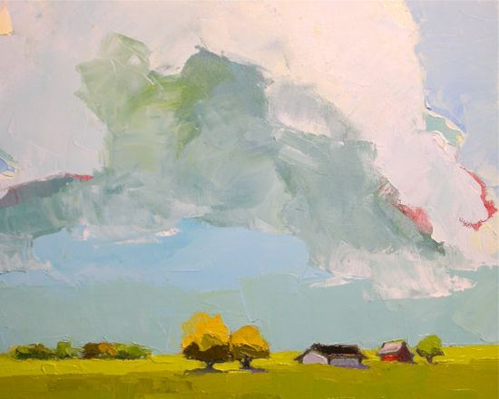 The Pastures of Heaven - 24x24 Original Oil Painting on Canvas - Cloud Painting, Landscape