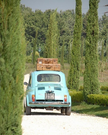 A colorful getaway ride in the Italian countryside
