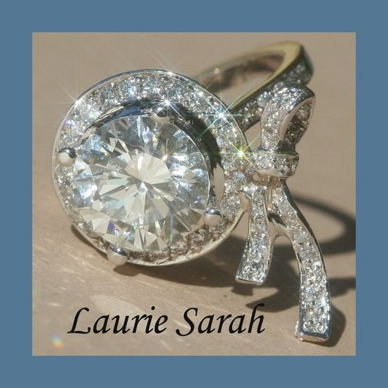 Diamond Bow Engagement Ring with 3 carat by LaurieSarahDesigns, $69000.00