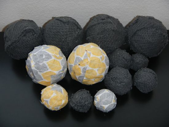 Rag Balls, Vase Filler, Centerpiece, Grey and Yellow, Sweater and Yellow Leaf Print, Home Decor, Shabby, Country Chic, Cottage, Rustic