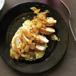 Chicken with Apples, Pears and Camembert Mashed Potatoes, Rachael Ray's 30-Minute Meals