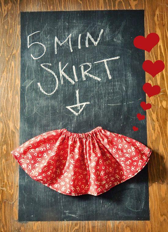 DIY 5 Minute Little Girl Skirt