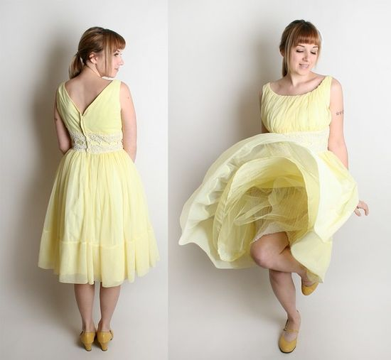 lemon vintage 1950s party dress