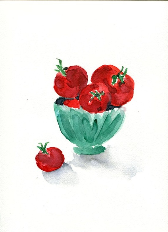 Yael Berger - tomatoes in a bowl in red and mint green
