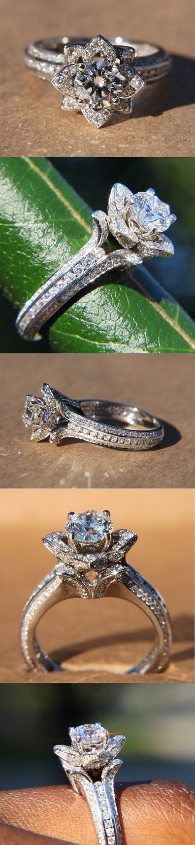UNIQUE Flower Rose Diamond Engagement or Right Hand Semi mount Ring - 2.20 carat - 14K white gold - wedding - brides