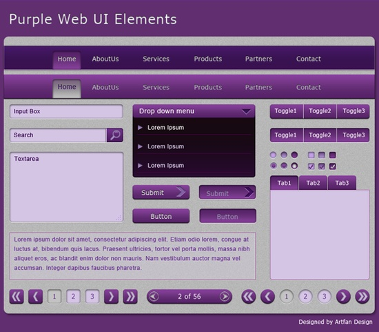 Purple Web UI Elements For Free