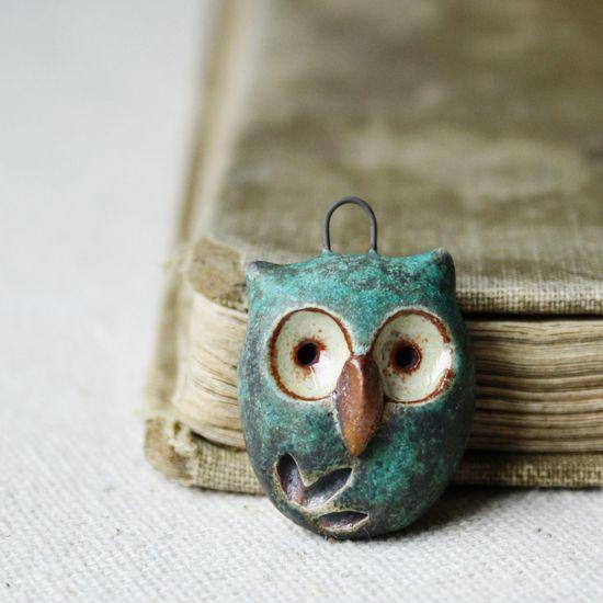 handmade owl pendant