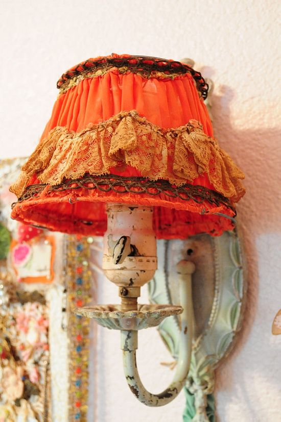 Antique French lampshade with fabulous lace