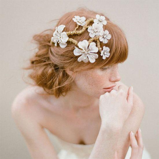Elegant floral hair accessory.