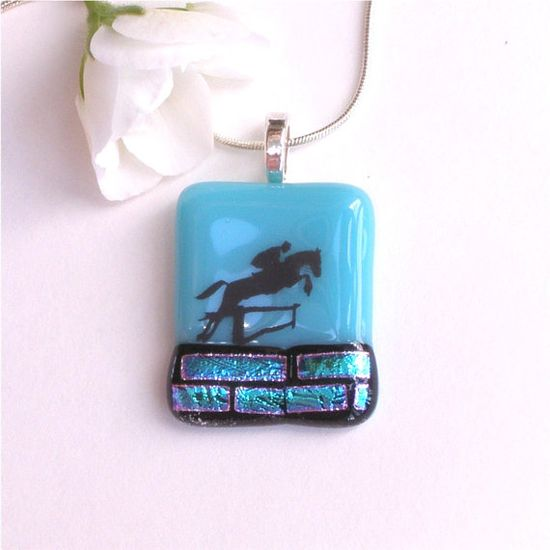 Christmas in July #CIJ Jumping Horse Fused Glass Pendant by GreenhouseGlassworks, $20.00 #horse #jewelry