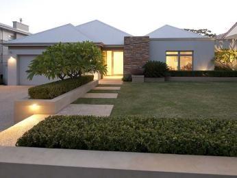 Modern garden design using grass with verandah & decorative lighting - Gardens photo 111859