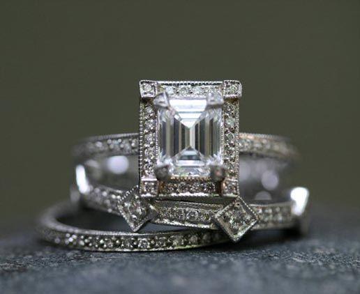 A unique set - #engagement #ring #wedding #band