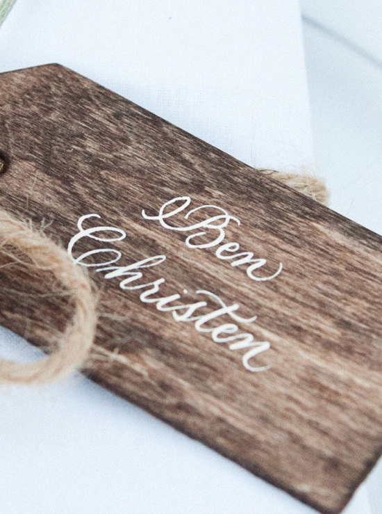 Wooden place card tags.
