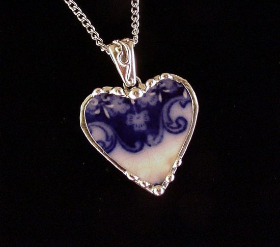 Antique 1880s flow blue shamrock clover broken china jewelry heart pendant necklace