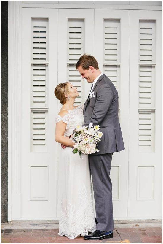 New Orleans Wedding/ Bride wore the Omelia Gown by Catherine Deane for BHLDN #BHLDNbride