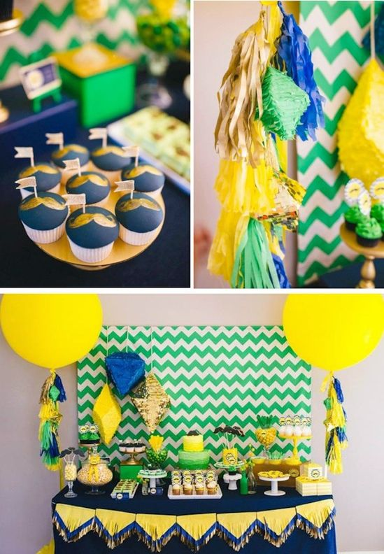 Neon Geo Stache Bash Baby Shower in navy, kelly green, yellow and gold...LOVE the geo pinatas, fringe tassels and triangle garland!