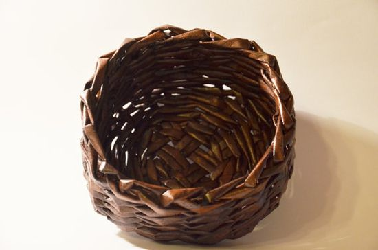Woven Recycled Paper Basket / Bowl Handmade by DowaBaskets on Etsy, $24.00