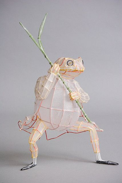 wire and paper frog