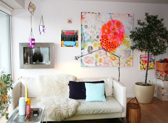 Interior idea: colorful paintings.