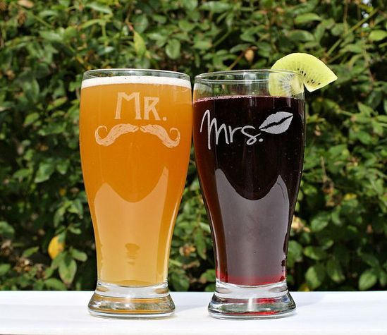 Mr and Mrs Beer Glasses, (2) Etched Pilsners, Just Married, Couples Gift, Wedding gift, Mustaches & Lips, Beer, Sangria, Anniversary Gift. $25.00, via Etsy.