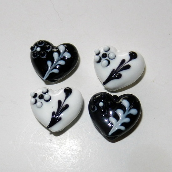 White and Black Heart Lampwork Glass Beads