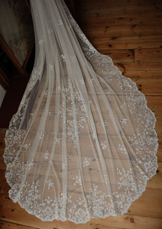 Hand embroidered lace chapel bridal wedding veil.