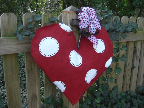 Valentine Heart Burlap Door Hanger. , via Etsy.