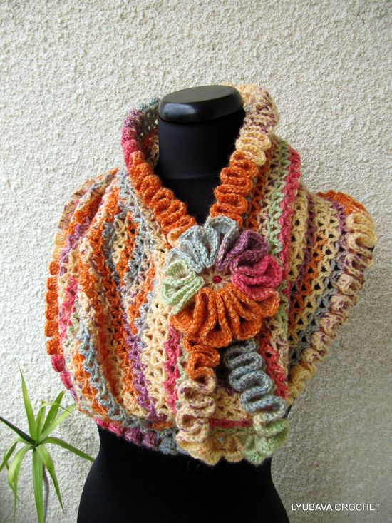 "PDF Tutorial Crochet Pattern ""Happy Autumn Colors"" Infinity, Trendy Crochet Cowl Scarf With Ruffled Edges, Lyubava Crochet Pattern number 58. $4.99, via Etsy."