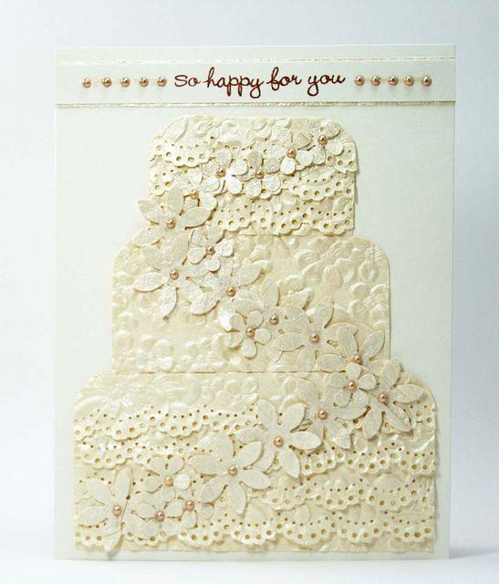 all white handmade card ... Wedding Congrats by SmilynStef, via Flickr ... Hero Arts