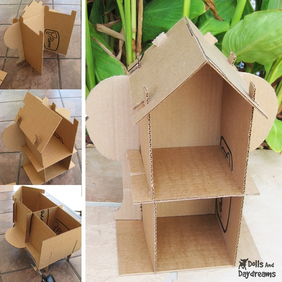 Eco Friendly PDF Dollhouse Pattern Recycle Cardboard Boxes  by Sarah Hanson  Materials    Use the pattern and turn any cardboard box into a dollhouse for each of your children to customize themselves.  Instructions    Cut out the cardboard using the PDF pattern printout. The Eco friendly dollhouse easily slots together, no need for messy tape or glue. It's stronger than you think, and will withstand some pretty rough play! Once your house is assembled, the decorating is up to you. The sky is ...