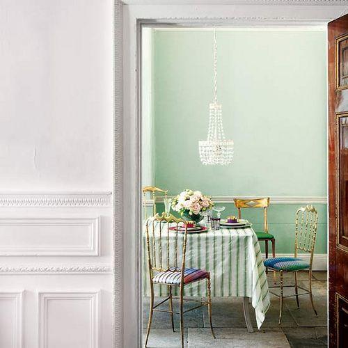 mint wall, imperfect floor, furniture; via Homes & Gardens UK #home #interiordesign #diningroom