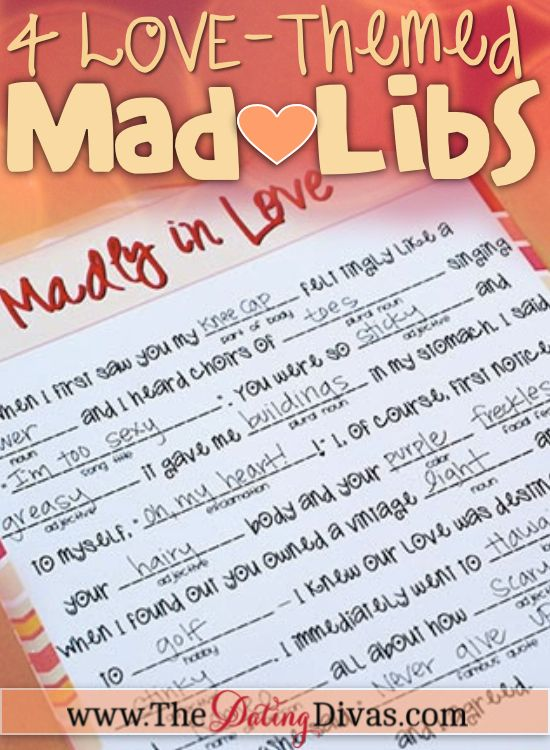 4 Free Love-themed Mad Libs to do with your spouse for a night of silliness! www.TheDatingDiva... #Madlibs #freeprintable #sillydatenight