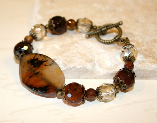 Banded agate bracelet, Brown bracelet, Twisted oval agate, Chunky Boho chic bracelet