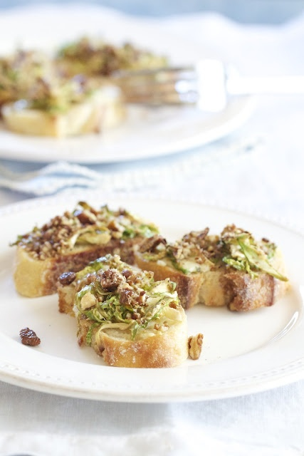 Maple Glazed Brussels Sprout Bruschetta Topped with Candied Pecans by epicureanmom #Bruschetta #Brussel_Sprouts #epicureanmom