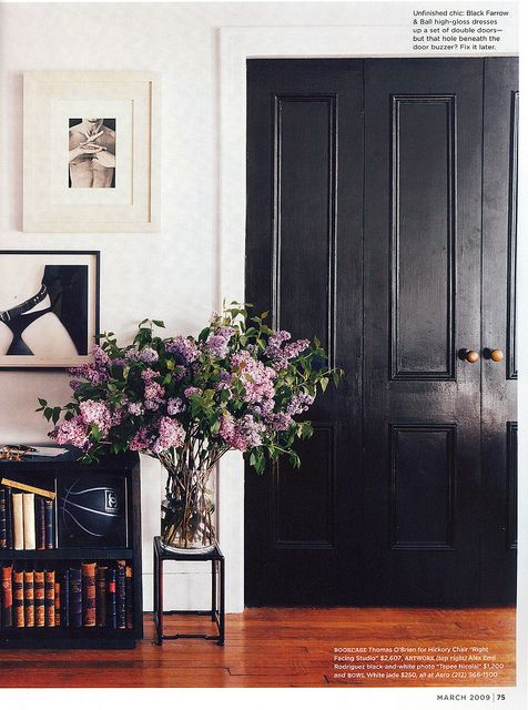 Black door, lilacs. Perpetual love for this shot. Don't know if I'd love it as much without the lilacs, but combining the lilacs and the masculine black accents and the modern white wall and the warm wood floor just kills me.