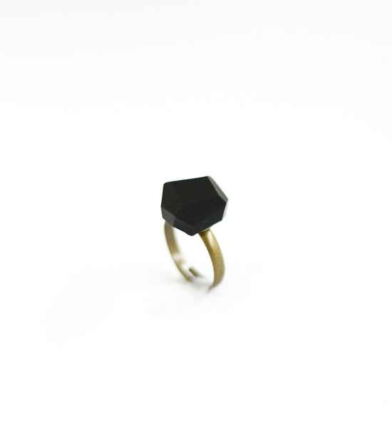 black geo ring by AMM Jewelry
