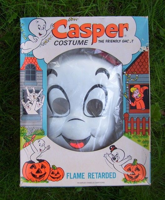 Vintage Casper 70's Halloween Costume.  They came in boxes. Another pinner said: This costume is almost identical to one I had for Halloween one year when I was little.  I still remember the cheap plastic feel of the pants and top and that plastic mask too.