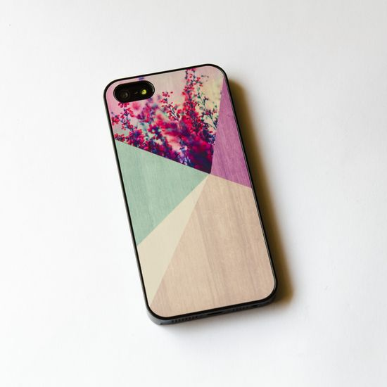 Floral Geometric on Wood  iPhone Case , very cute