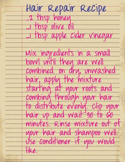 hair repair recipe.